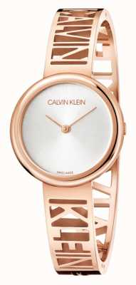 Calvin Klein Mania | aço pvd ouro rosa | mostrador prateado | tamanho M KBK2M616