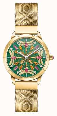 Thomas Sabo | glam e alma | pulseira em malha dourada | libélula de pedras preciosas | WA0369-264-211-33