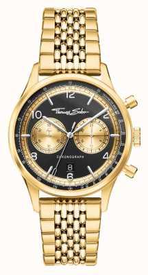 Thomas Sabo | rebelde no coração | homens | pulseira em tom de ouro | mostrador preto | WA0376-264-203-40