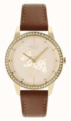 Radley | mulheres | pulseira de couro marrom | mostrador com motivo de cão em ouro | RY21180