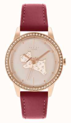 Radley Pulseira de couro vermelho feminino | mostrador com motivo de cachorro em ouro rosa RY21184