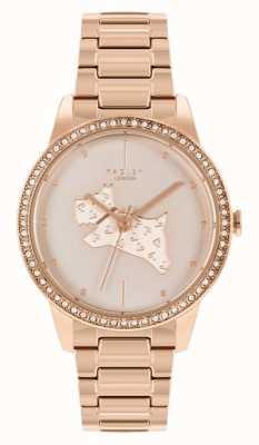 Radley | mulheres | pulseira de aço banhado a ouro rosa | botão de impressão de cão em ouro rosa | RY4556