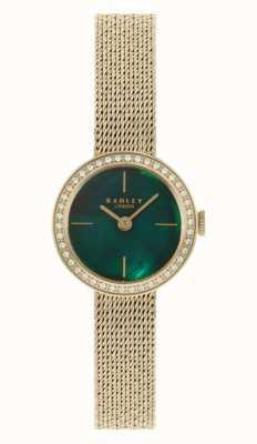 Radley | mulheres | pulseira em malha folheada a ouro | madrepérola verde dial | RY4568