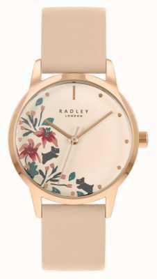 Radley Correia de couro nude / rosa claro feminino | mostrador floral creme RY21220A