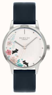 Radley Pulseira de couro azul feminino | mostrador floral branco RY21229A