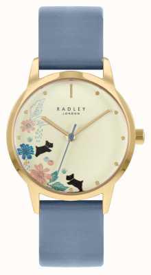 Radley Pulseira de couro azul feminino | mostrador de champanhe RY21230A