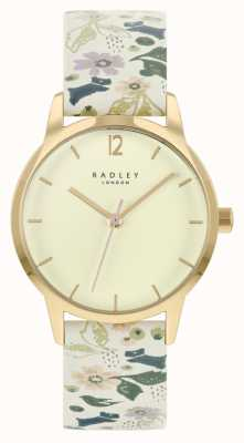 Radley Bracelete de couro floral branco feminino | mostrador de champanhe RY21232A