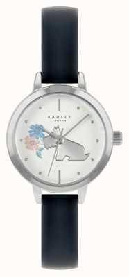 Radley Pulseira de couro azul feminino | mostrador branco RY21237A