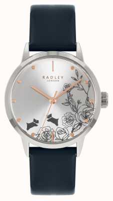 Radley | mulheres | pulseira de couro azul | mostrador prateado | RY21241A