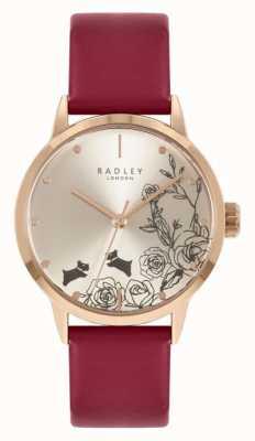 Radley | mulheres | pulseira de couro vermelha | mostrador prateado | RY21244A