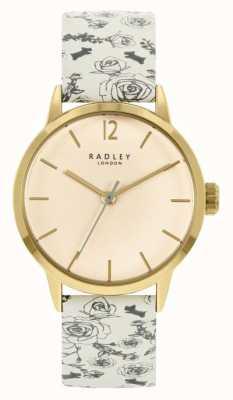 Radley Pulseira de couro com padrão creme feminino | mostrador creme RY21248A