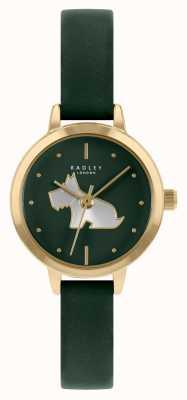 Radley Pulseira de couro verde da mulher | mostrador verde RY21256A