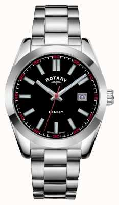 Rotary Homens | Henley | mostrador preto | pulseira de aço inoxidável GB05180/04
