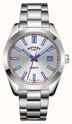 Rotary Homens | Henley | mostrador prateado | pulseira de aço inoxidável GB05180/59