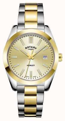 Rotary Mulheres | Henley | discagem champanhe | pulseira de aço inoxidável de dois tons LB05181/03