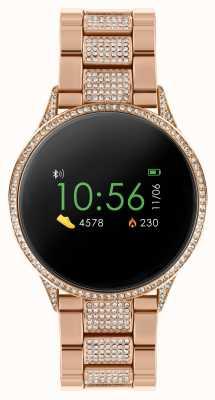 Reflex Active Relógio inteligente da série 4 | tela de toque colorida | conjunto de pedra pulseira de aço inoxidável ouro rosa RA04-4014