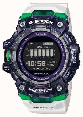 Casio G-shock | esportes vitais série | pulseira de silicone branca | mostrador preto | Bluetooth GBD-100SM-1A7ER