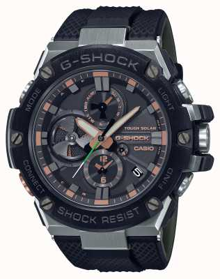 Casio G-aço militar de luxo | pulseira de resina preta | mostrador preto | Bluetooth GST-B100GA-1AER