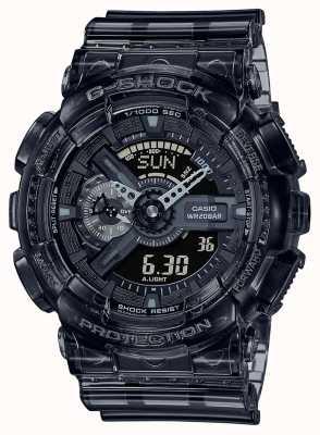 Casio G-shock | esqueleto série cinza | pulseira de resina transparente cinza claro | mostrador cinza GA-110SKE-8AER