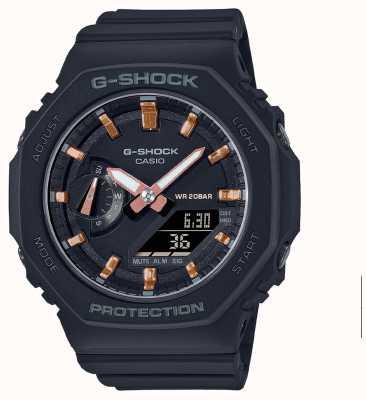 Casio G-shock de tamanho médio | pulseira de resina preta | mostrador preto GMA-S2100-1AER