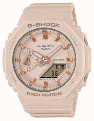 Casio G-shock de tamanho médio | pulseira de resina rosa pálido | mostrador rosa GMA-S2100-4AER