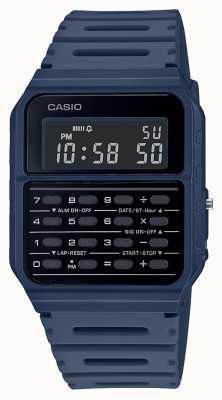 Casio Relógio retro calculadora | pulseira de resina azul | mostrador preto CA-53WF-2BEF