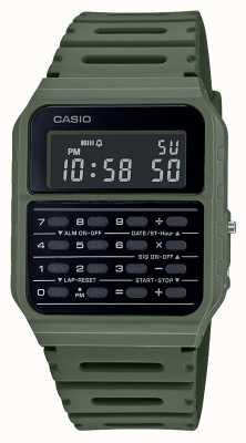 Casio Relógio retro calculadora | pulseira de resina verde | mostrador preto CA-53WF-3BEF