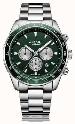 Rotary Homens | Henley | cronógrafo | mostrador verde | pulseira de aço inoxidável GB05109/24