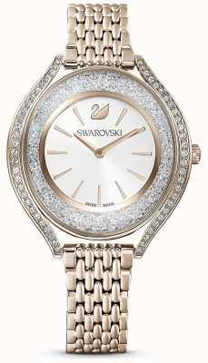 Swarovski | aura cristalina | mulheres | pulseira de ouro em aço inoxidável | mostrador branco | 5519456