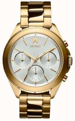 MVMT Getaway | pulseira de aço banhado a ouro para senhora | mostrador prateado 28000128-D