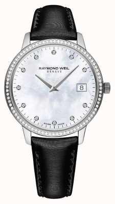 Raymond Weil Toccata | pulseira de couro preto feminino | esfregão 5388-SLS-97081