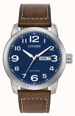 Citizen Pulseira masculina de couro marrom eco-drive wr100 BM8471-19L
