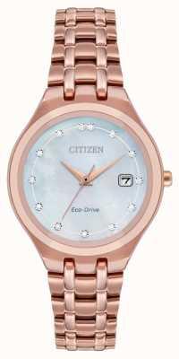 Citizen Mostrador de diamante feminino com direção ecológica EW2489-54D