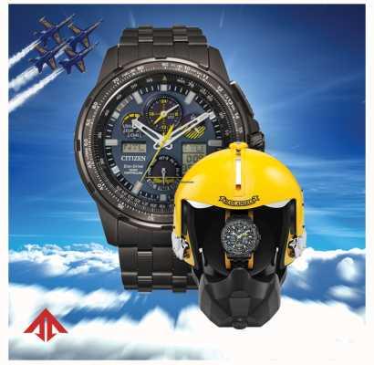 Citizen Homem eco-drive controlado por rádio | promaster skyhawk | anjos azuis | caixa de apresentação de capacete JY8097-58L