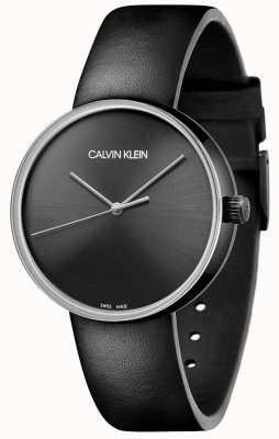 Calvin Klein Pulseira de couro preto feminino | mostrador preto KBL234C1