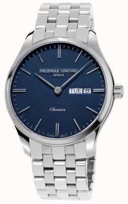 Frederique Constant Quartzo clássico masculino | pulseira de aço inoxidável | mostrador azul FC-225NT5B6