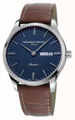 Frederique Constant Quartzo clássico masculino | pulseira de couro marrom | mostrador azul FC-225NT5B6
