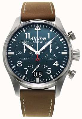 Alpina Chrono piloto smartimer masculino | pulseira de couro marrom | mostrador azul AL-372N4S6
