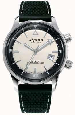 Alpina Herança do mergulhador marítimo masculino | pulseira de silicone preta | mostrador branco AL-525S4H6