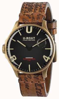 U-Boat Darkmoon 44 mm pulseira de couro ip bronze preto 8467/A