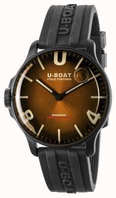 U-Boat Darkmoon 44 mm elegante ipb marrom / pulseira de borracha 8699