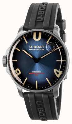 U-Boat Darkmoon 44 mm azul imperial ss / pulseira de borracha 8704