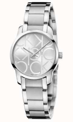 Calvin Klein Cidade | pulseira de aço inoxidável para senhora | mostrador prateado K2G23142