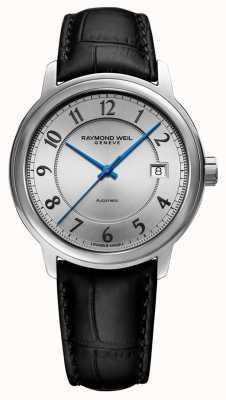 Raymond Weil | maestro | automático | mostrador árabe de prata | pulseira de couro preta 2237-STC-05658