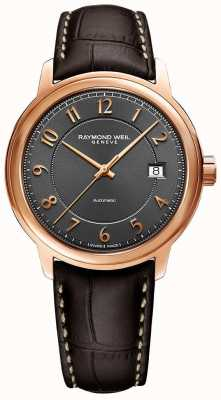 Raymond Weil Maestro | automático | mostrador árabe cinza | pulseira de couro marrom 2237-PC5-05608