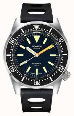 Squale Militaire clássico | mostrador preto | pulseira de silicone preta tropical 1521-026-MIL-P