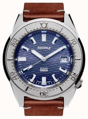 Squale 1521 couro onda | automático | mostrador azul | pulseira de couro marrom 1521ODG.PS-CINCUOBW