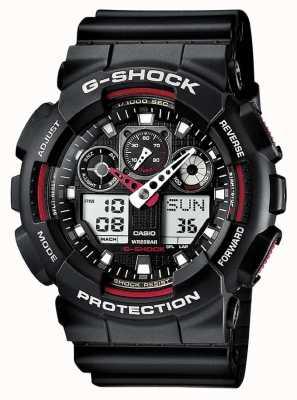 Casio G-shock cronógrafo alarme preto vermelho GA-100-1A4ER