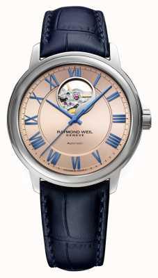 Raymond Weil Maestro | automático | mostrador de cobre rosa | pulseira de couro azul 2227-STC-00808