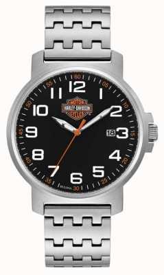 Harley Davidson Pulseira masculina de aço inoxidável | mostrador preto de fácil leitura 76B187